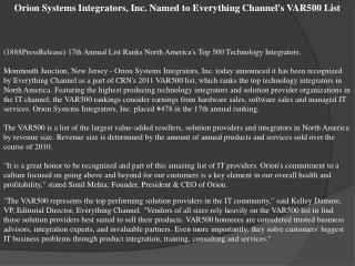 orion systems integrators, inc. named to everything channel'