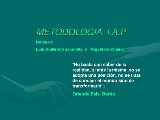 METODOLOGIA  I.A.P. Notas de  Luis Guillermo Jaramillo  y   Miguel Corchuelo