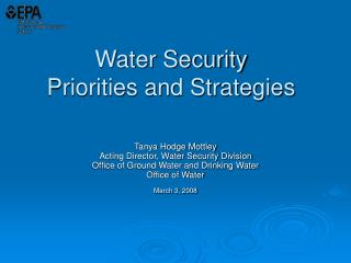 Water Security  Priorities and Strategies