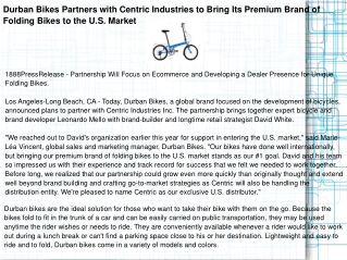 Durban Bikes Partners with Centric Industries to Bring Its P
