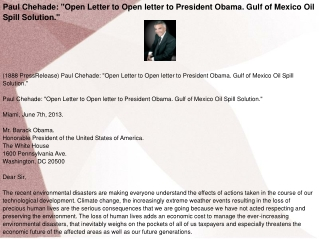 "Paul Chehade: ""Open Letter to Open letter to President Obama"