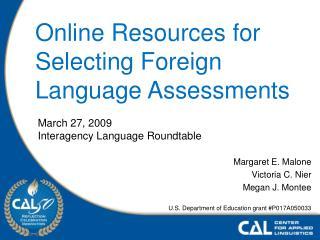 Margaret E. Malone Victoria C. Nier Megan J. Montee  U.S. Department of Education grant P017A050033