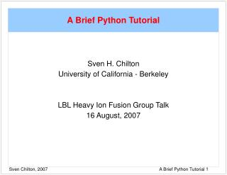 A Brief Python Tutorial