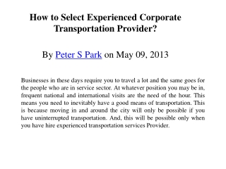 How to Select Experienced Corporate Transportation Provider?