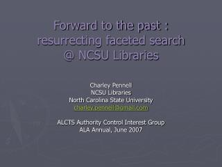 Forward to the past : resurrecting faceted search  NCSU Libraries