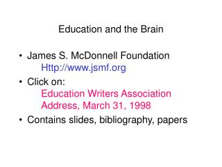 Education and the Brain