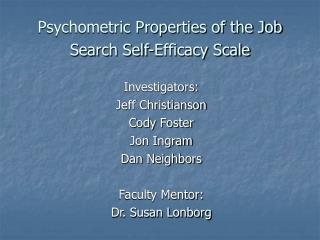 Psychometric Properties of the Job Search Self-Efficacy Scale