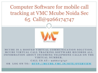 Call Tracking Software for Small Business at VMC MCube