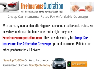 Cheap Car Insurance Rate For Affordable Coverage