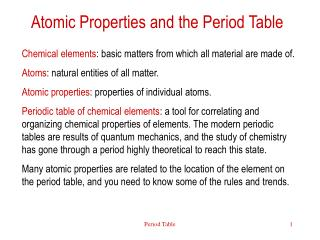 Atomic Properties and the Period Table