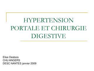 HYPERTENSION PORTALE ET CHIRURGIE DIGESTIVE