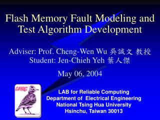 Flash Memory Fault Modeling and Test Algorithm Development