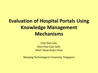 Evaluation of Hospital Portals Using Knowledge Management Mechanisms