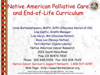 Native American Palliative Care and End-of-Life Curriculum