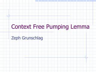 Context Free Pumping Lemma