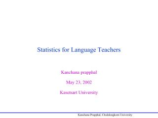 Statistics for Language Teachers