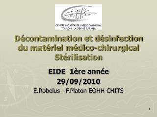D contamination et d sinfection du mat riel m dico-chirurgical St rilisation