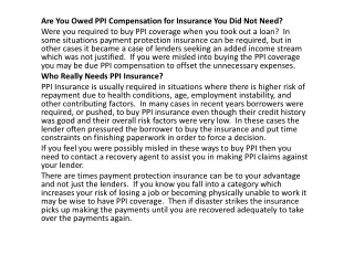 are you owed ppi compensation for insurance you did not need