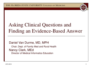 Constructing a Clinical Question
