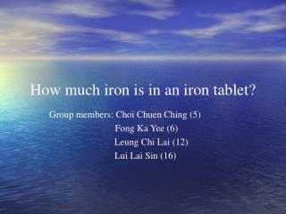 How much iron is in an iron tablet