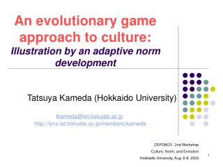 An evolutionary game approach to culture: Illustration by an adaptive norm development