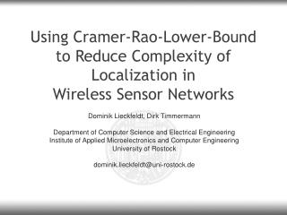Using Cramer-Rao-Lower-Bound to Reduce Complexity of Localization in  Wireless Sensor Networks