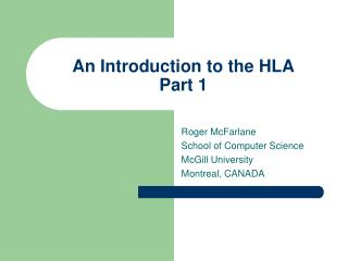 An Introduction to the HLA Part 1