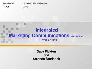 Integrated Marketing Communications 2nd edition  FT Prentice Hall