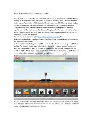 Record Audio with Wondershare Allmymusic for Mac