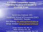 European Comparator report regarding funding and access to oncology drugs
