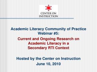 Academic Literacy Community of Practice Webinar 5:
