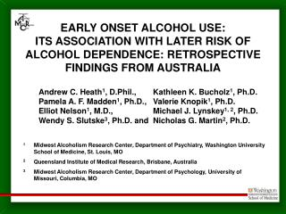 EARLY ONSET ALCOHOL USE: ITS ASSOCIATION WITH LATER RISK OF ALCOHOL DEPENDENCE: RETROSPECTIVE FINDINGS FROM AUSTRALIA