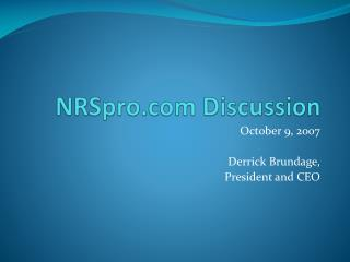 NRSpro Discussion