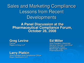 Sales and Marketing Compliance Lessons from Recent Developments