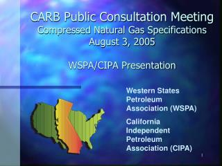 CARB Public Consultation Meeting Compressed Natural Gas Specifications August 3, 2005  WSPA