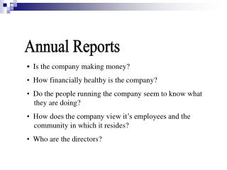 PROJECT 2: Financial Reports