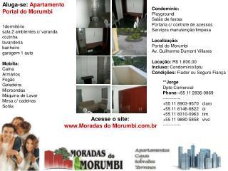 apartamento no portal do morumbi aluga 1dorms 1auto locação