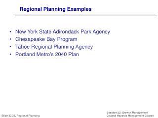 Regional Planning Examples