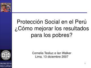 Protecci n Social en el Per   C mo mejorar los resultados para los pobres