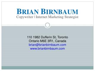 Toronto Copywriter Brian Birnbaum