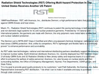 Radiation Shield Technologies (RST) Offering Multi-hazard Pr