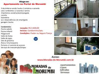 locação: apartamento no portal do morumbi 3dorms 1suite 2aut