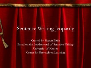 Sentence Writing Jeopardy