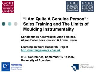 I Am Quite A Genuine Person : Sales Training and The Limits of Moulding Instrumentality