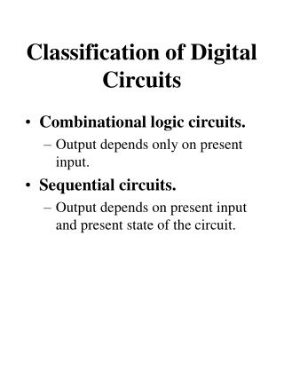 Classification of Digital Circuits