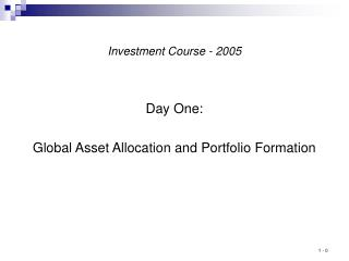 Investment Course - 2005