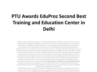 ptu awards eduproz second best training and education center