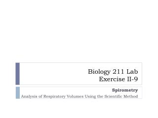 LAB Exercise II-9 Spirometry