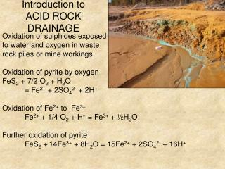 Introduction to  ACID ROCK  DRAINAGE