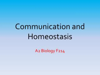 Communication and Homeostasis